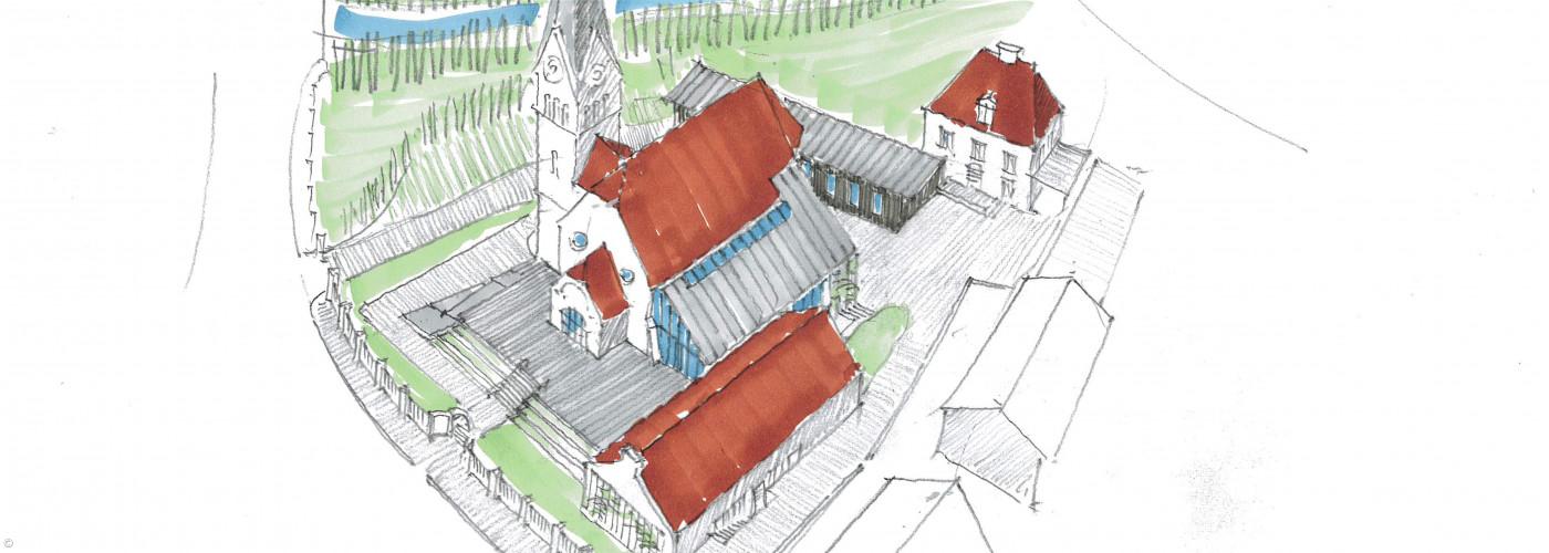 Skizze neues Gemeindehaus